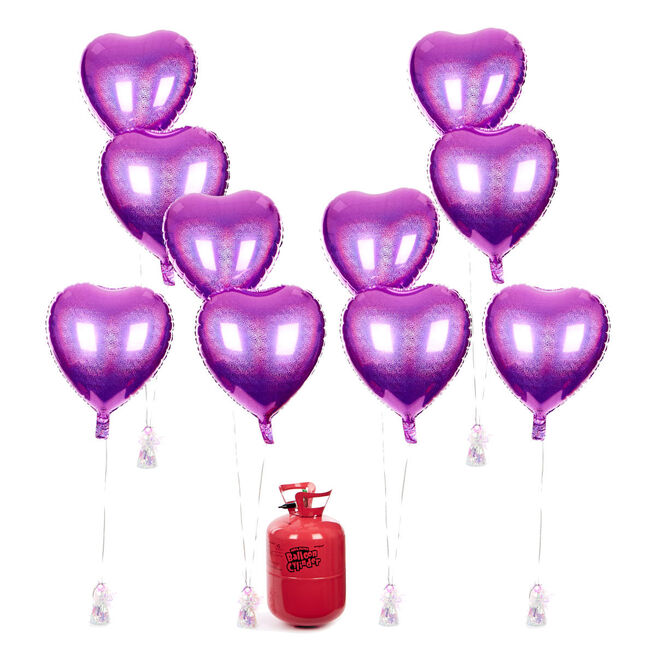 Party Balloon Bundle - 10 Light Pink Hearts & Helium