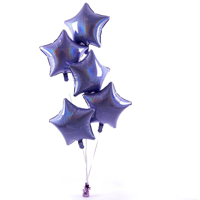 5 Lilac Stars Balloon Bouquet - DELIVERED INFLATED!