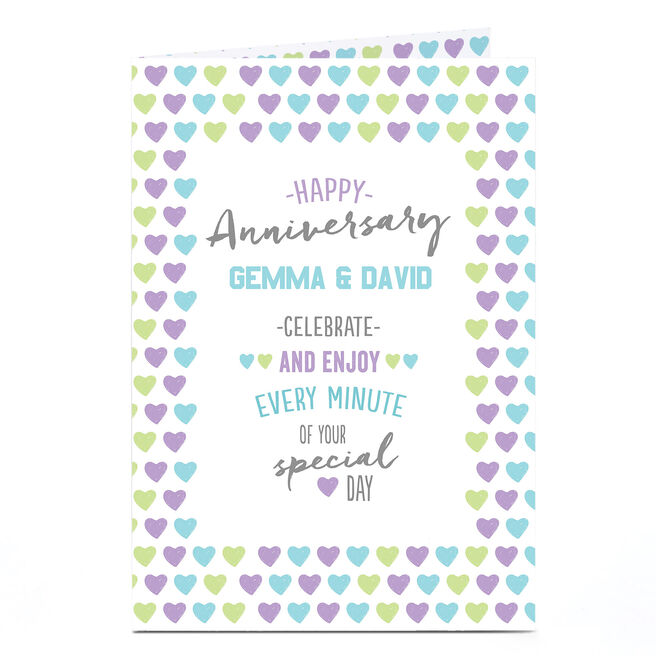 Personalised Anniversary Card - Coloured Hearts