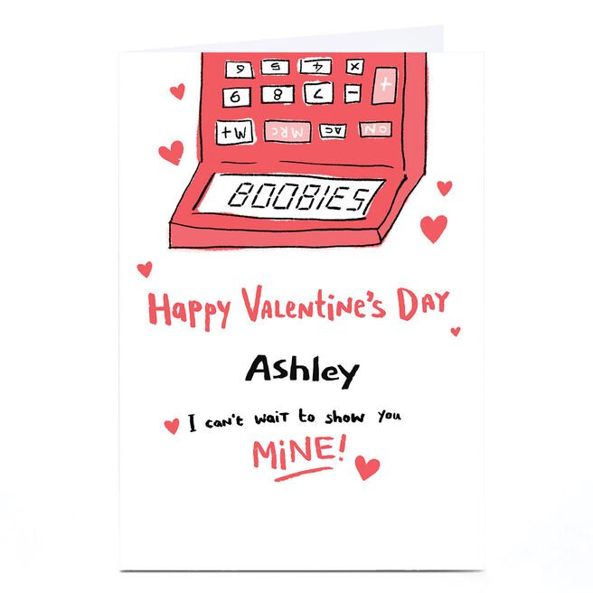 Personalised Hew Ma Valentine's Day Card - Calculator