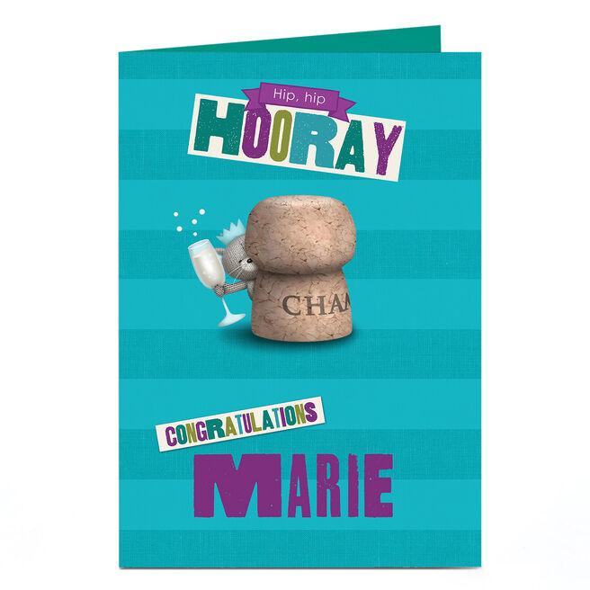 Personalised Hugs Bear Congratulations Card - Hip Hip Hooray