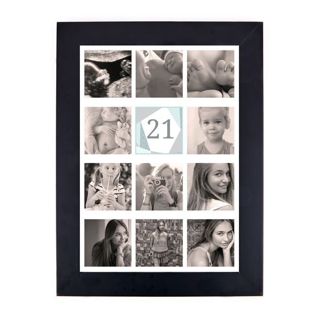Personalised 21st Milestone Age Photo Print - Geometric Mint