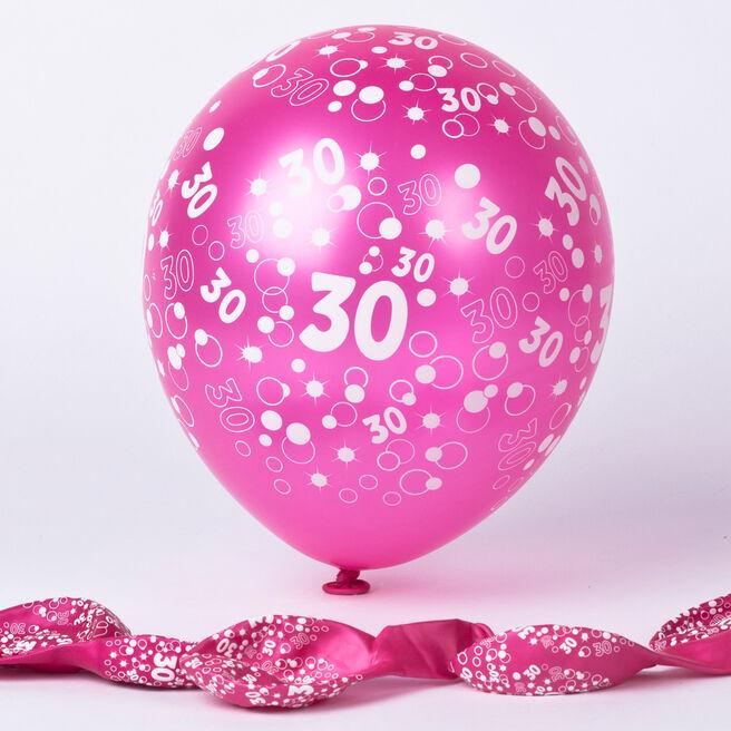 Metallic Pink Circles 30th Birthday Helium Latex Balloons - Pack Of 6