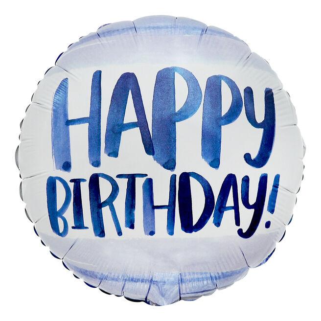 Blue Watercolour Happy Birthday 18-Inch Foil Helium Balloon