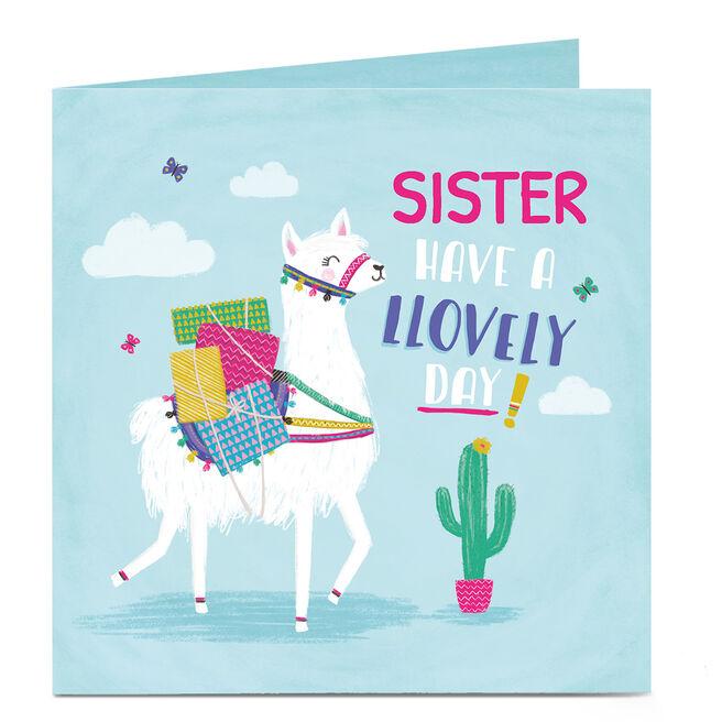 Personalised Birthday Card- Lovely Llama, Sister