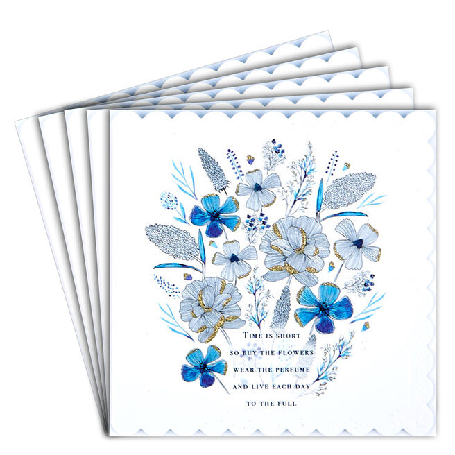 12 Blank Birthday Cards - Blue Flowers