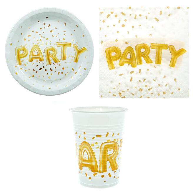 Gold Balloon Letters Party Tableware Bundle - 8 Guests