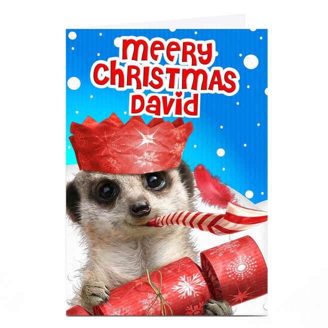 Personalised Christmas Card - Festive Meerkat