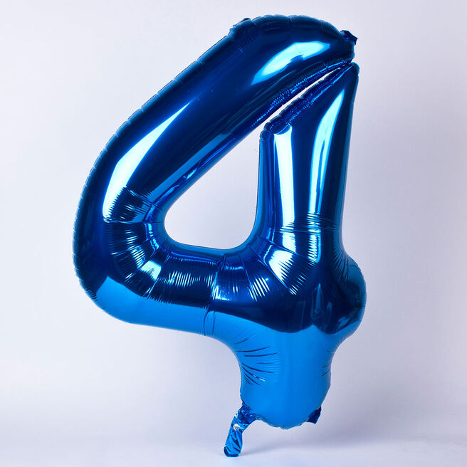 Blue Number 4 Giant Foil Helium Balloon INFLATED