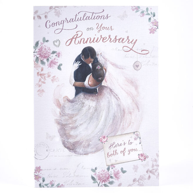 Anniversary Card - Bride & Groom Dancing