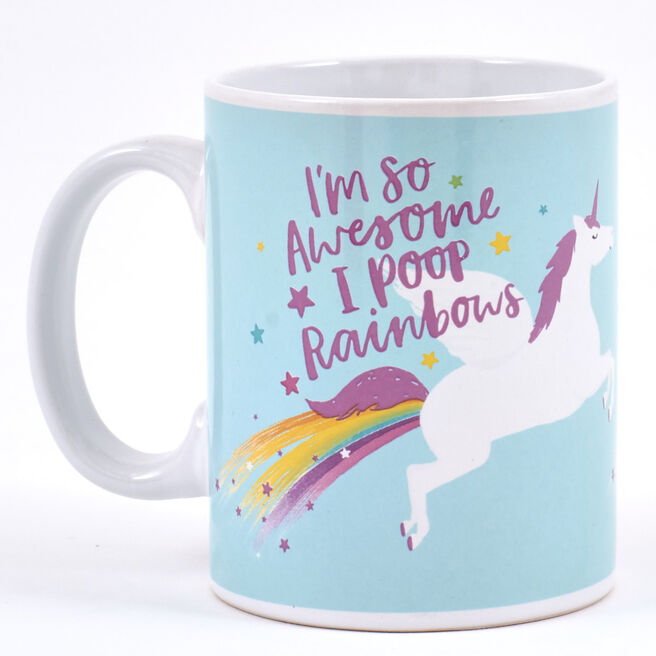 """I'm So Awesome I Poop Rainbows"""" Unicorn Mug"""""""