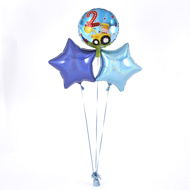 2nd Birthday Digger Blue Balloon Bouquet - DELIVERED INFLATED!