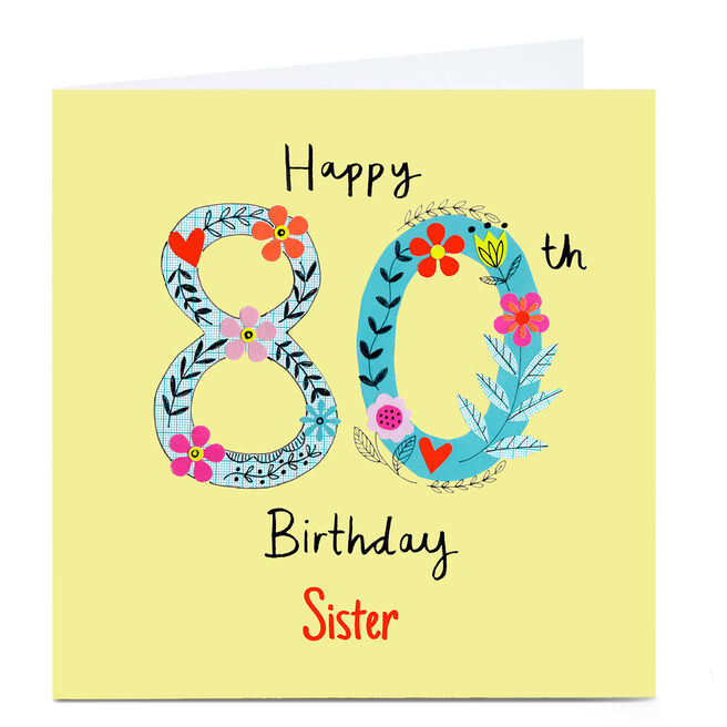Personalised Lindsay Loves To Draw 80th Birthday Card