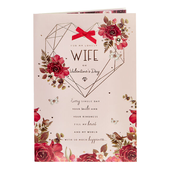 Valentine's Day Card - Lovely Wife Geometric Heart