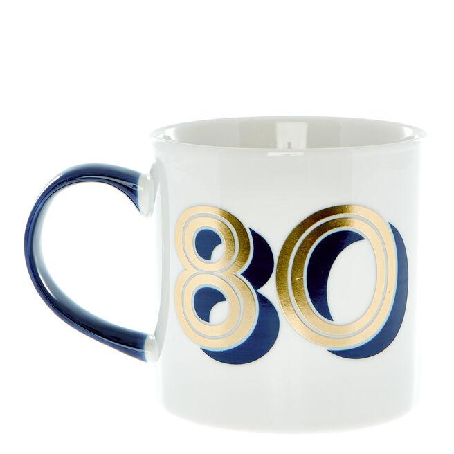 80th Birthday Mug In A Box - Blue & Gold