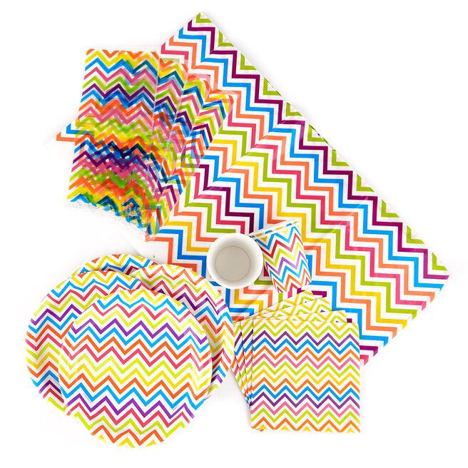 Rainbow Chevron Party Tableware & Decoration Bundle - 85 Pieces