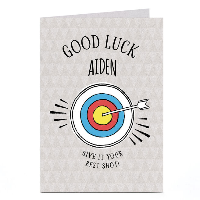 Personalised Good Luck Card - Arrow