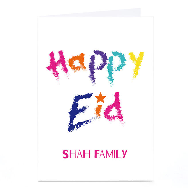 Personalised Roshah Designs Eid Card - Colourful Text