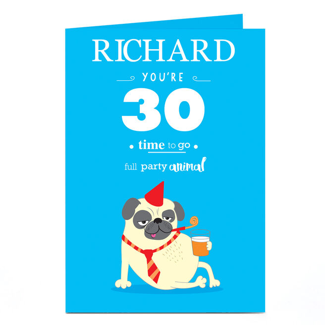 Personalised Any Age Birthday Card - Party Pug