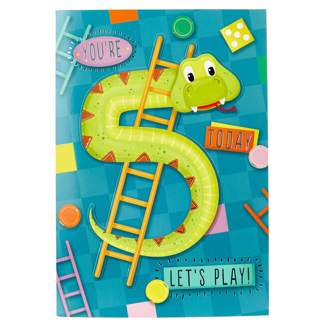 5th Birthday Card - Snakes & Ladders