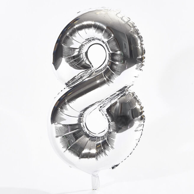 Silver Number 8 Foil Giant Helium Balloon (Deflated)