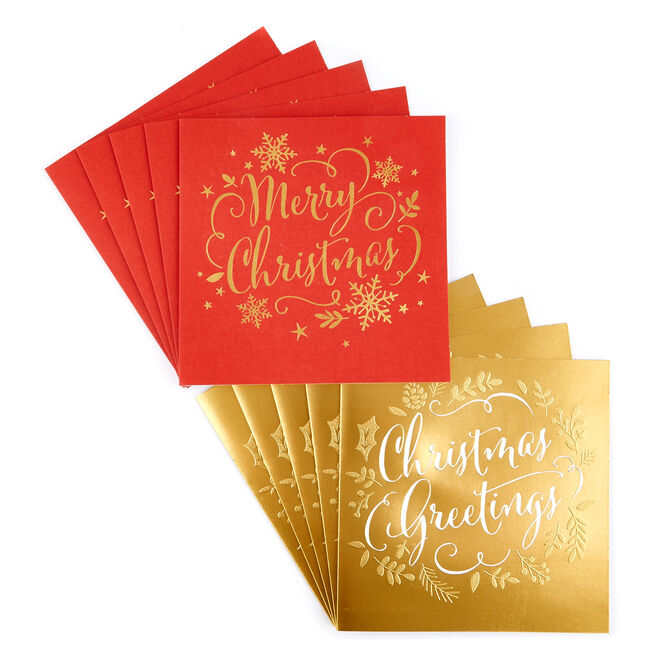 Charity Christmas Cards - Red & Gold (Pack of 16)