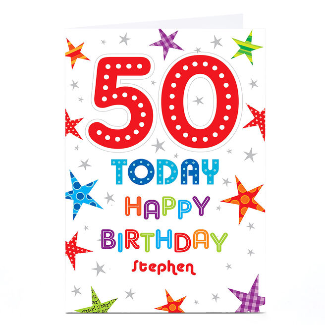 Personalised 50th Birthday Card - Colourful Stars
