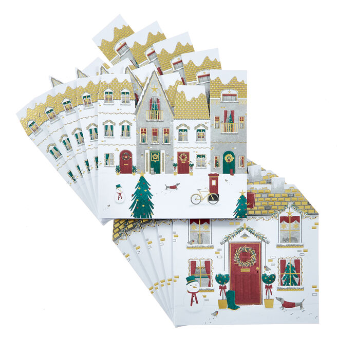 16 Festive Houses Charity Christmas Cards - 2 Designs