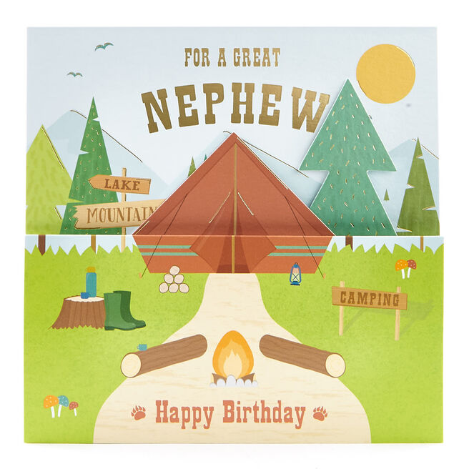 VIP Collection Birthday Card - Nephew Camping Pop-Up