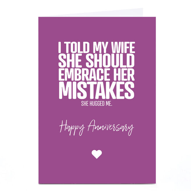 Personalised Punk Cards Anniversary Card - Mistakes