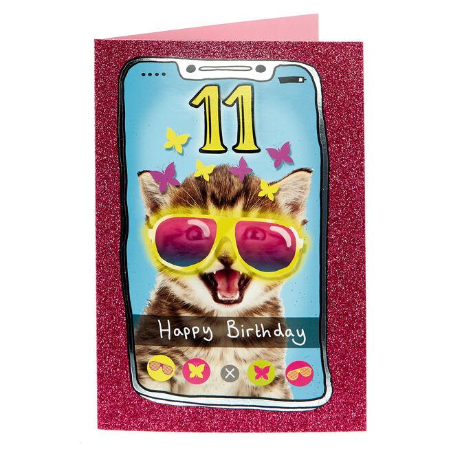 11th Birthday card - Selfie Cat