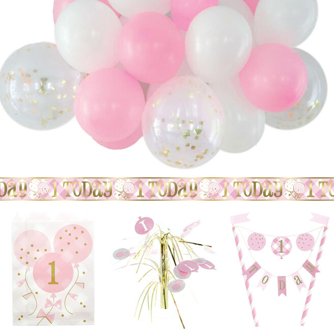 Pink Gingham 1st Birthday Party Accessories Bundle - 20 Pieces