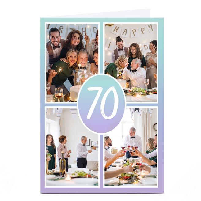 Photo Any Age Birthday Card - Blue Gradient
