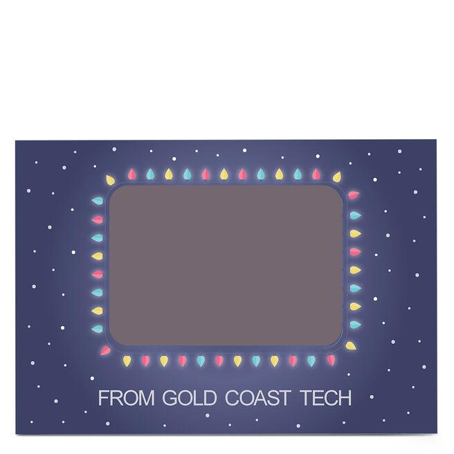 Photo Business Christmas Card - Snow & Christmas Lights