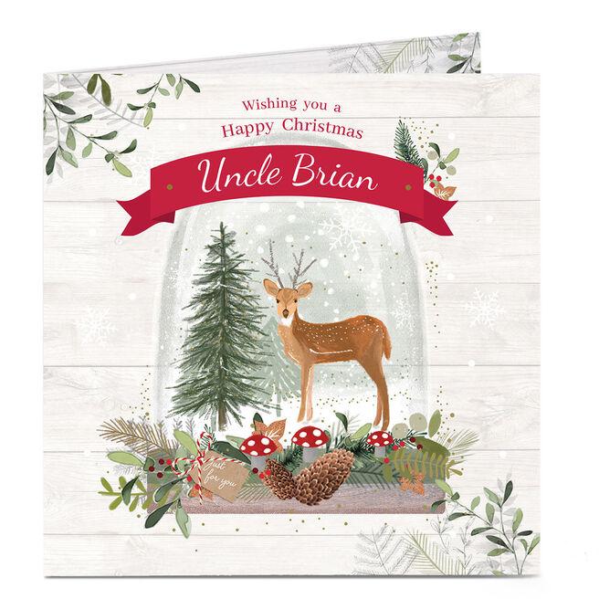 Personalised Christmas Card - Deer & Tree