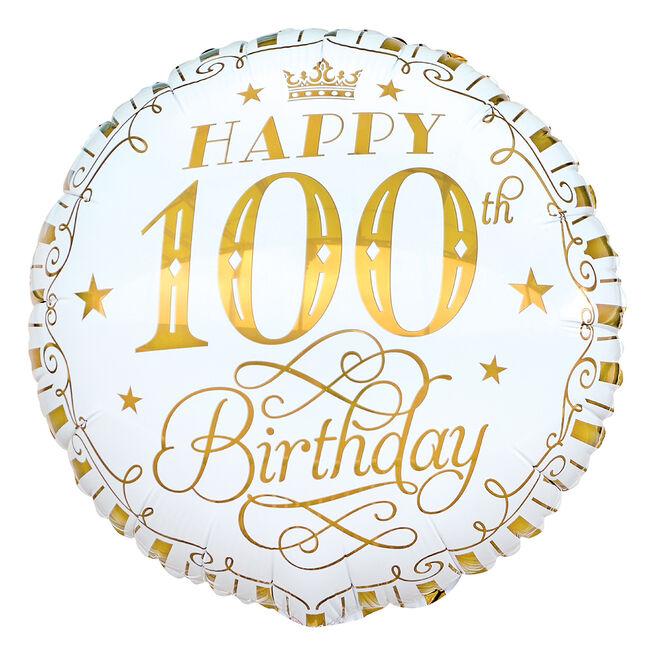 White & Gold 100th Birthday 18-Inch Foil Helium Balloon