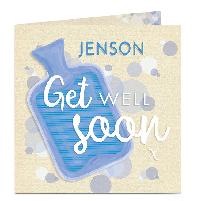 Personalised Get Well Soon Card - Blue Hot Water Bottle