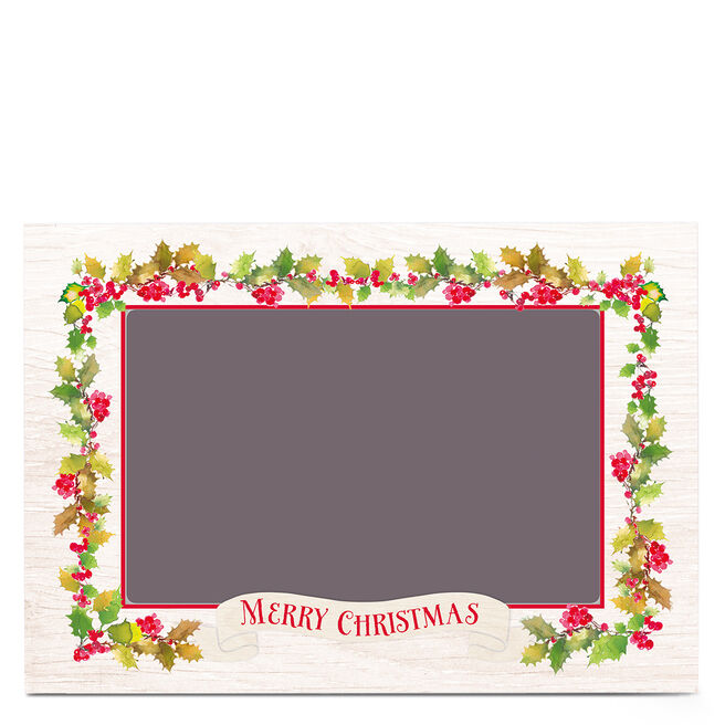 Photo Business Christmas Card - Holly Wreath