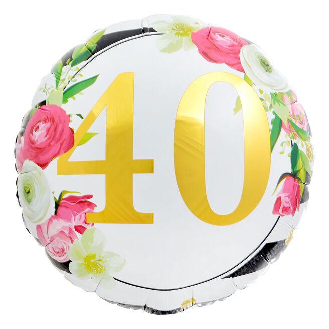 Floral 40th Birthday 18-Inch Foil Helium Balloon
