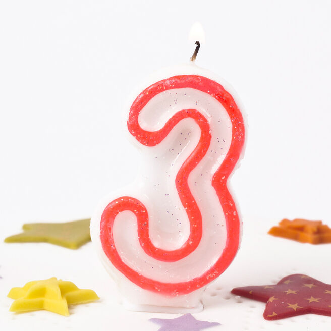 Pink Glittery Number 3 Birthday Candle