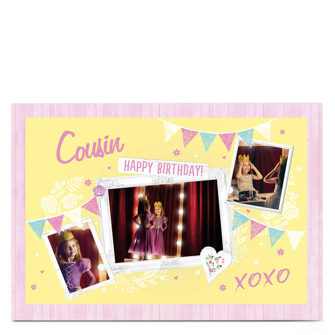 Photo Birthday Card - Yellow & Pink Bunting [Cousin]