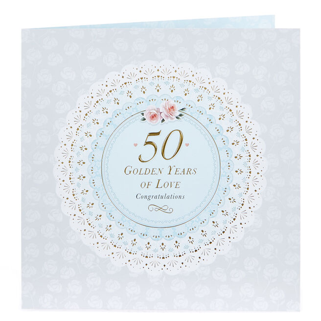 Platinum Collection 50th Anniversary Card - Golden Years Of Love