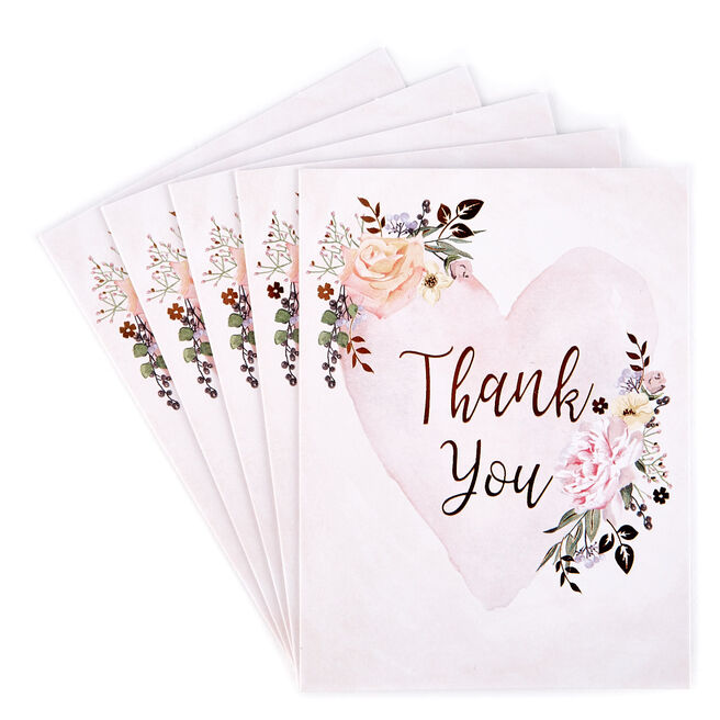 Heart & Flowers Thank You Cards - Pack of 12
