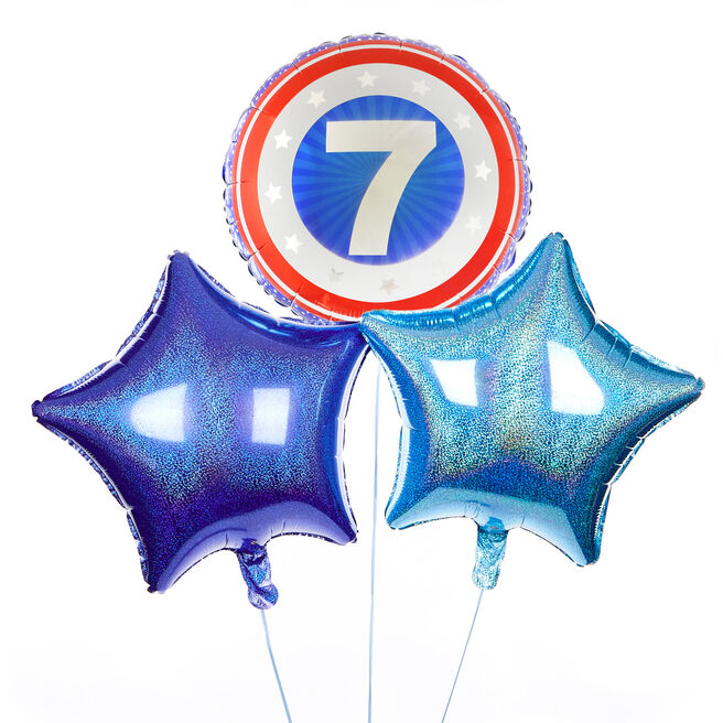 Superhero Shield 7th Birthday Balloon Bouquet - DELIVERED INFLATED!