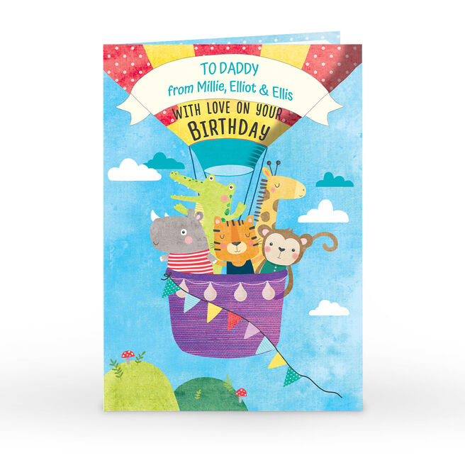 Personalised Birthday Card - Animal Hot Air Balloon