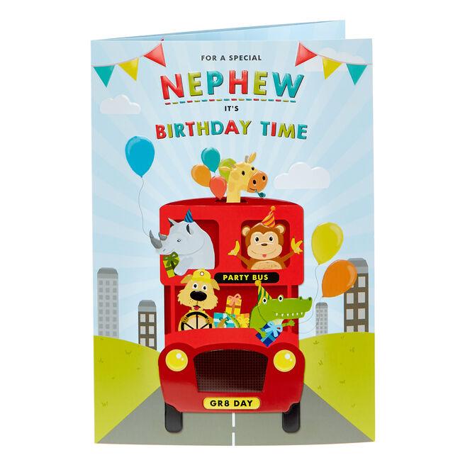 Birthday Card - Nephew Party Bus