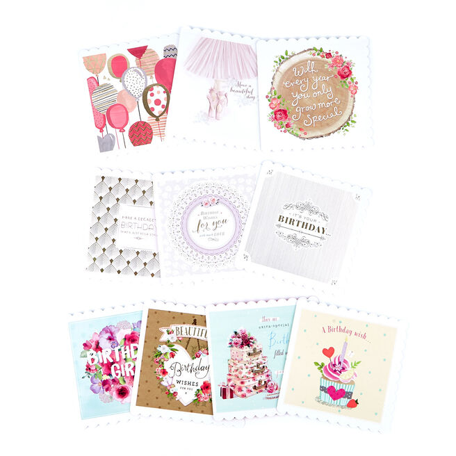 Assorted Scalloped Female Birthday Cards - Pack Of 10