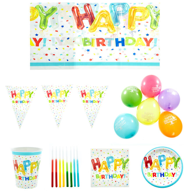 Happy Birthday Balloons Party Tableware & Decorations Bundle - 8 Guests