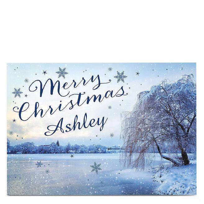 Personalised Christmas Card - Blue Snow Scene