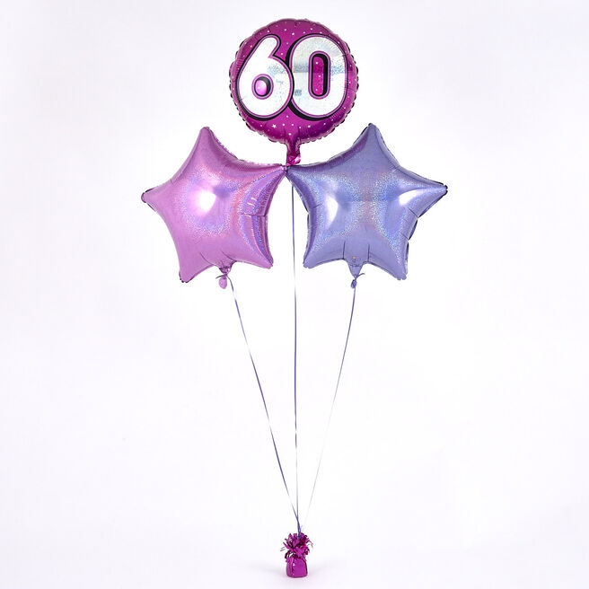 Pink 60th Birthday Balloon Bouquet - DELIVERED INFLATED!